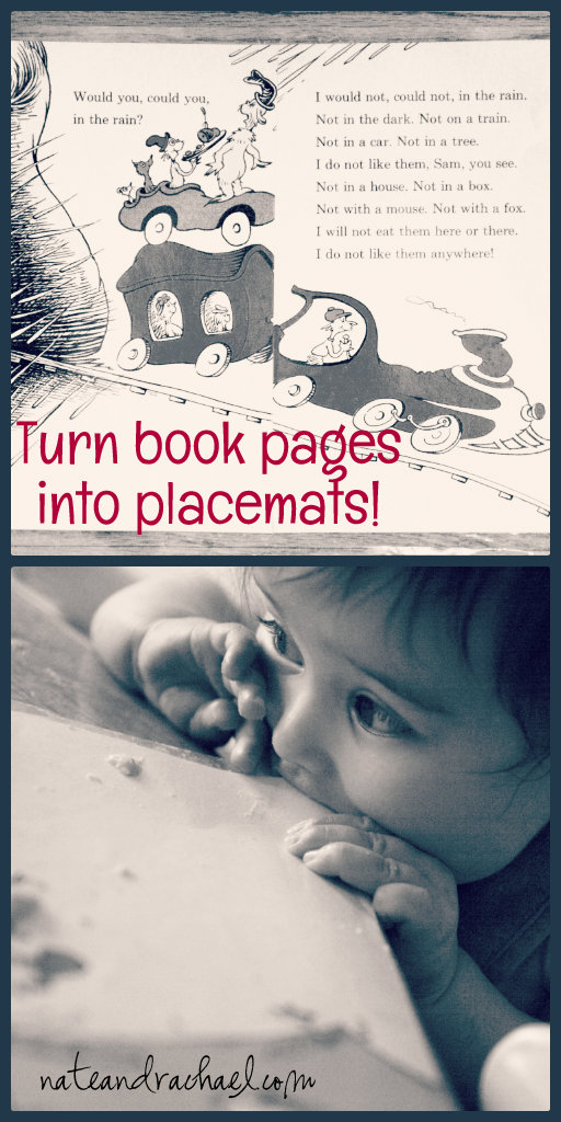 Turn book pages into laminated placemats!