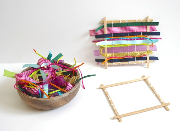 Homemade weaving loom