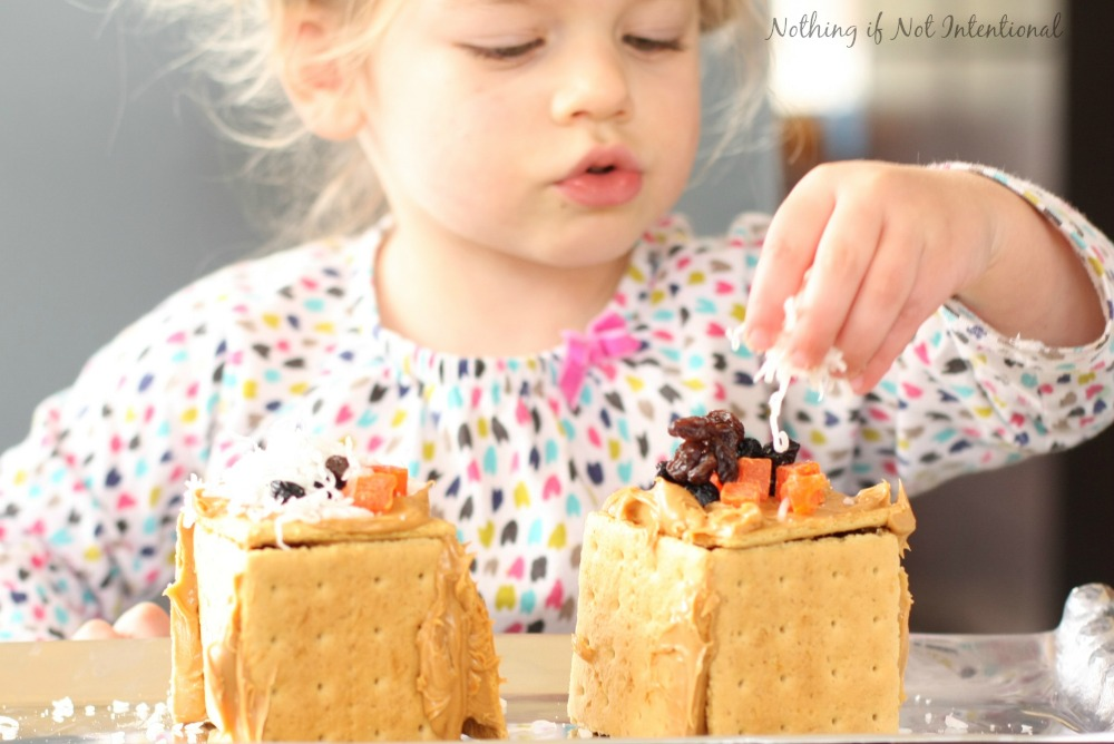 Healthier gingerbread house decorating. All the fun without the sugar crash!