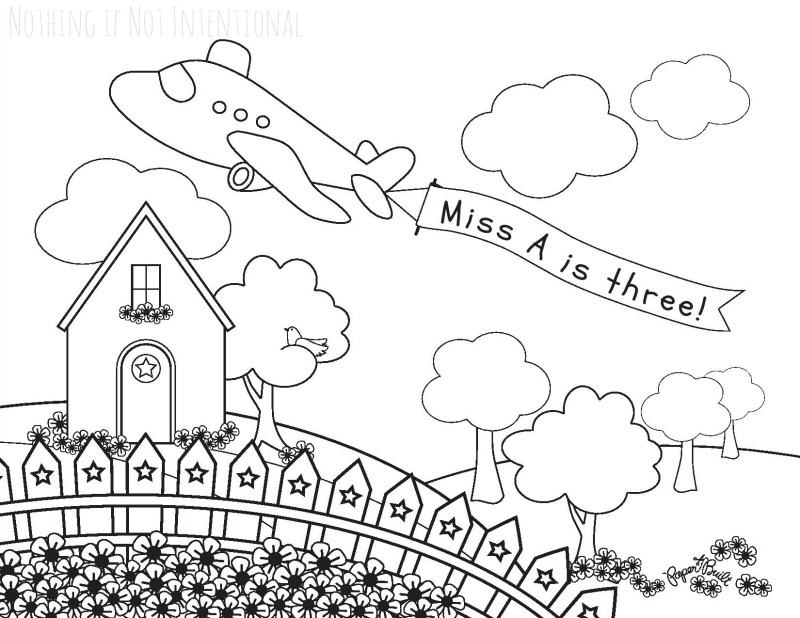 Airplane Play: Airplane Sensory Bin, Personalized Coloring Sheet (shown), and Frozen Fizzing Airplane Fun!
