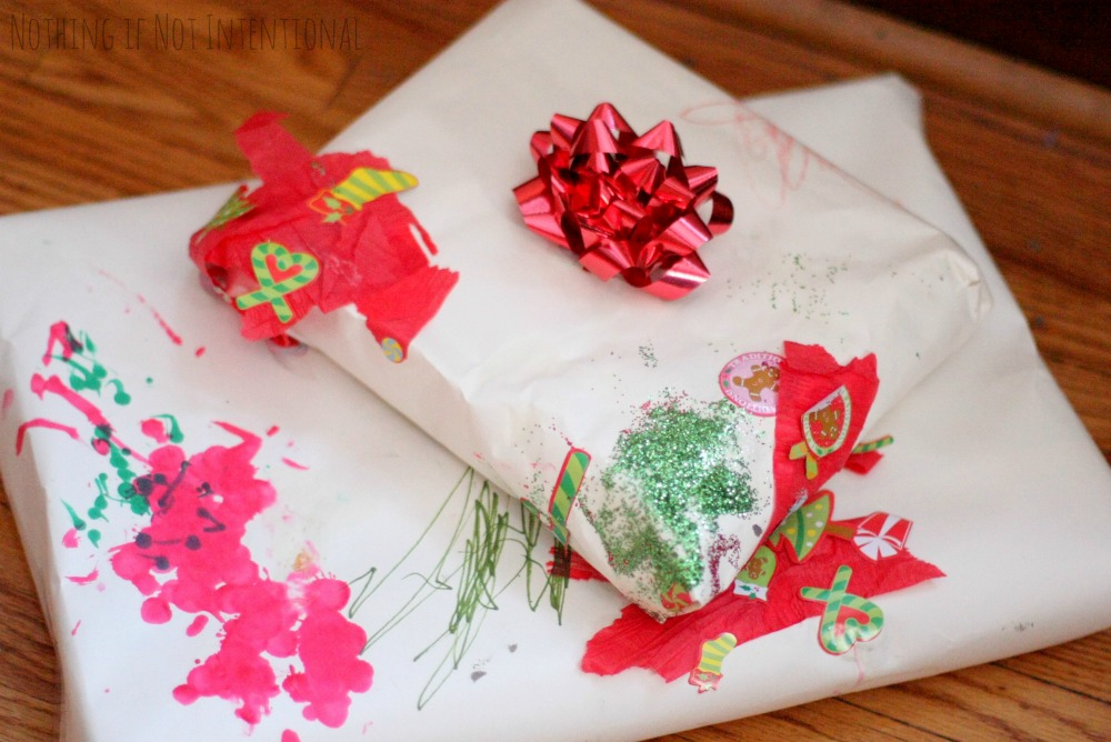 Involve little hands in gift giving with this homemade wrapping paper collage from Nothing if Not Intentional