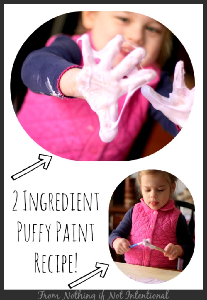 Two-ingredient puffy paint recipe. You're going to want to try this!