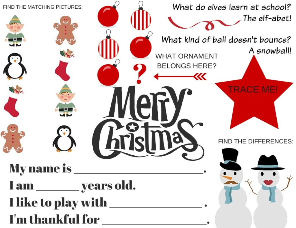 FREE Printable: Christmas Activity Placemat