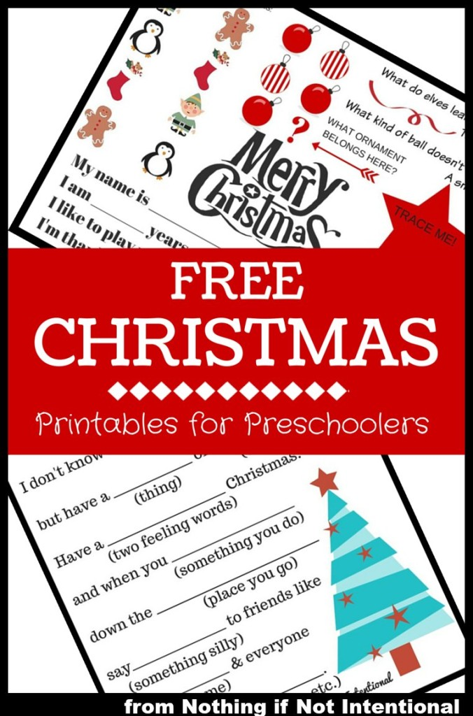 Free Christmas Printables for Preschoolers! MadLibs and Activity Placemat