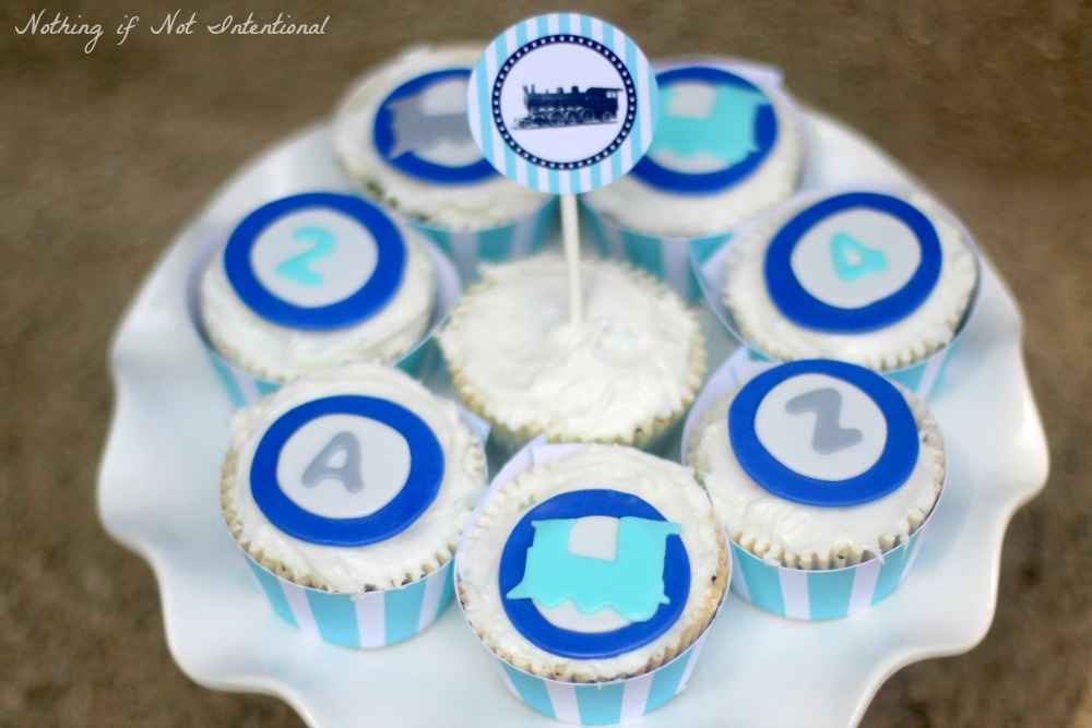 Train party fondant cupcake toppers