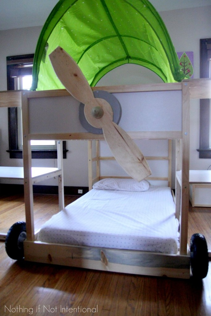 ikea bed hack kura loft turned into an airplane bunk bed. Black Bedroom Furniture Sets. Home Design Ideas