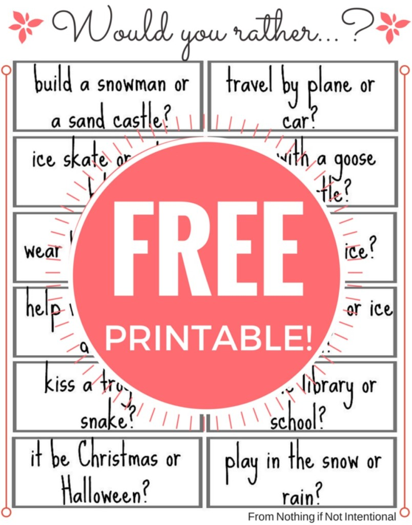 Free printable! Fun would you rather questions for kids