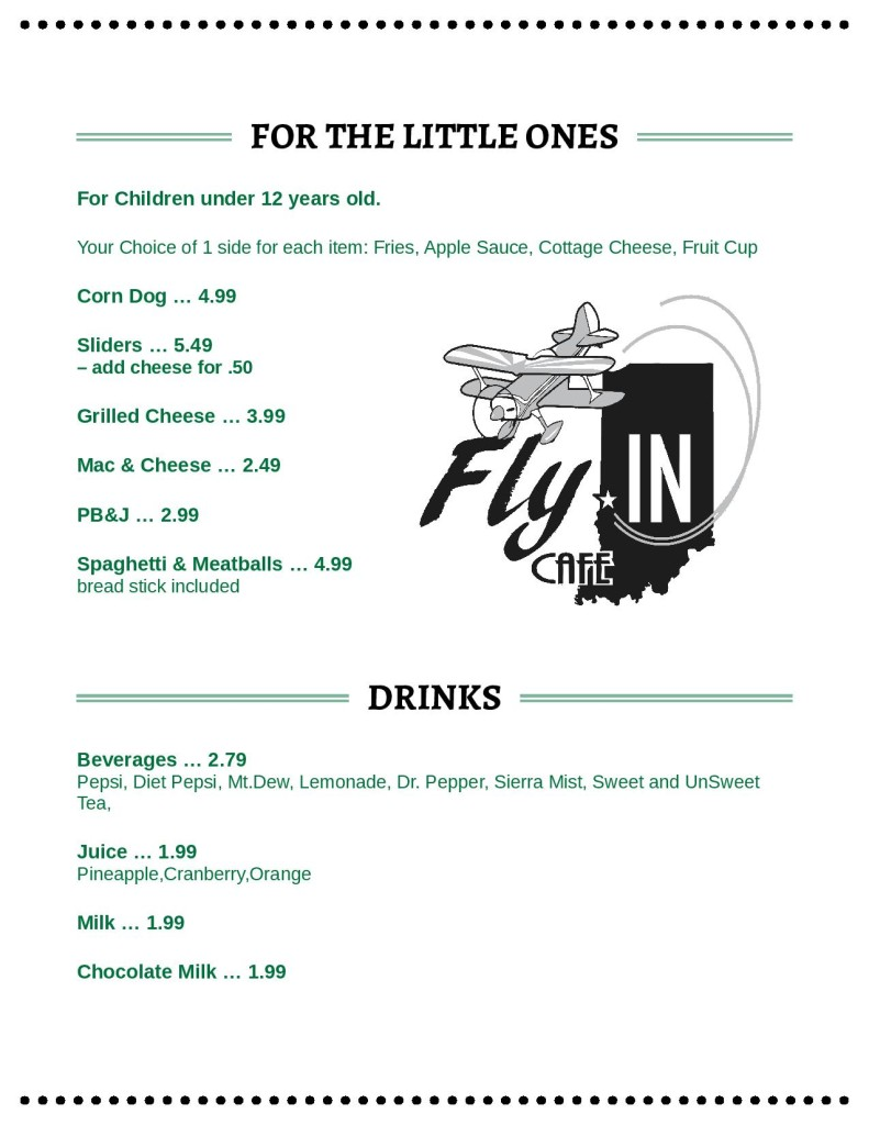 Fly IN Cafe: Terre Haute Airport Restaurant Menu. See more on HauteHappenings.com.