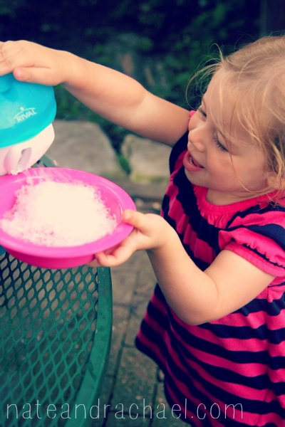 Snow cone syrup recipe with just three ingredients! We'll be using this a lot this summer!