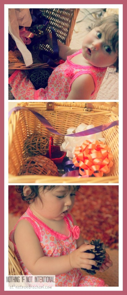 Our baby's favorite way to play--treasure baskets!