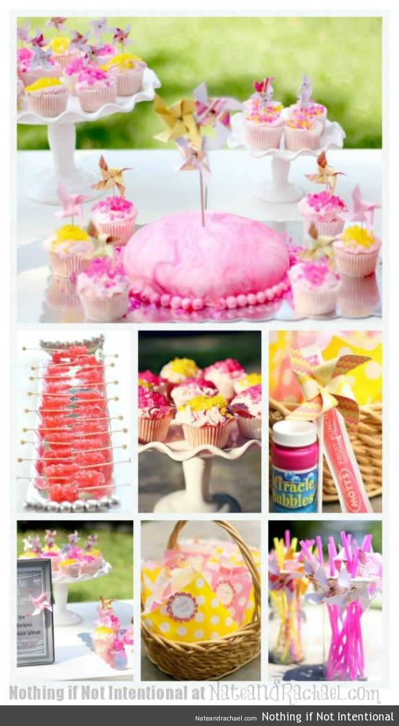 "Pink lemonade and pinwheels party—whimsical and sweet first birthday party! Highlights include rock candy and rock candy sprinkles, giant spinning pinwheels, the original ""favorite things"" photo prop, favors that won't cause a sugar crash, group play ideas, and DIY invitations."