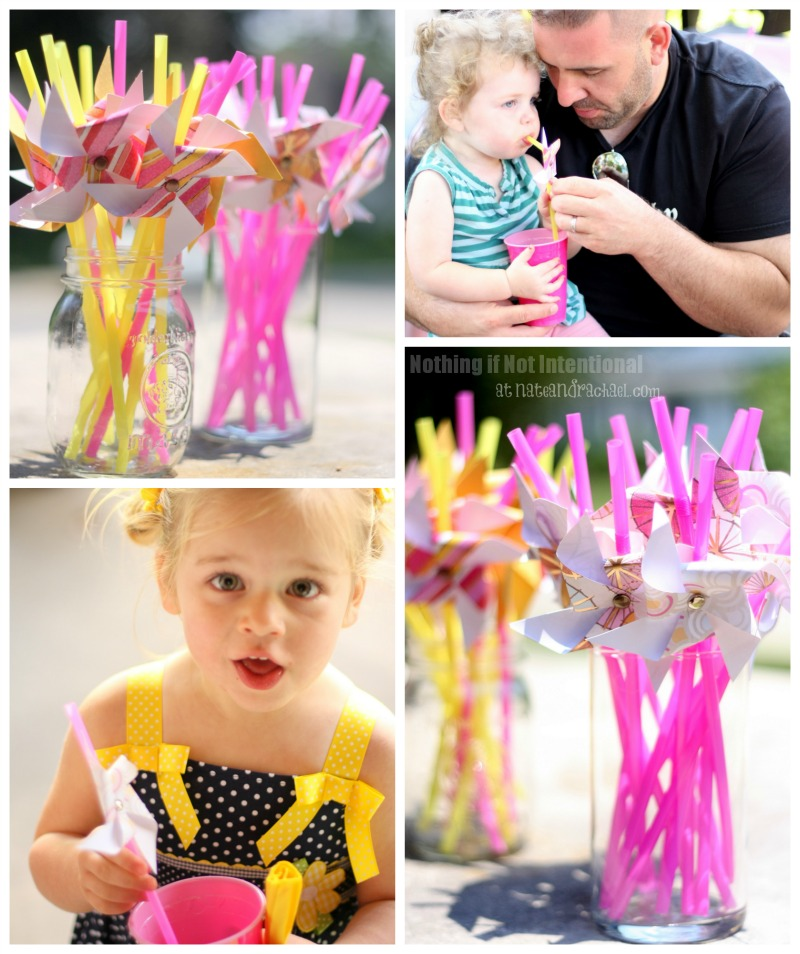 "Pink Lemonade and Pinwheels Birthday Party—whimsical and sweet! Rock candy, giant spinning pinwheels, ""favorite things"" photo prop, favors that won't cause a sugar crash, group play ideas, and DIY invitations."