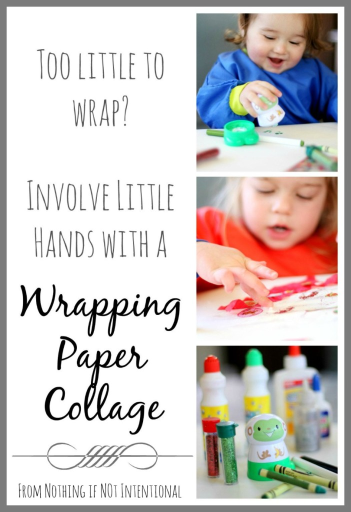 Involve little hands in gift giving with this homemade wrapping paper collage.