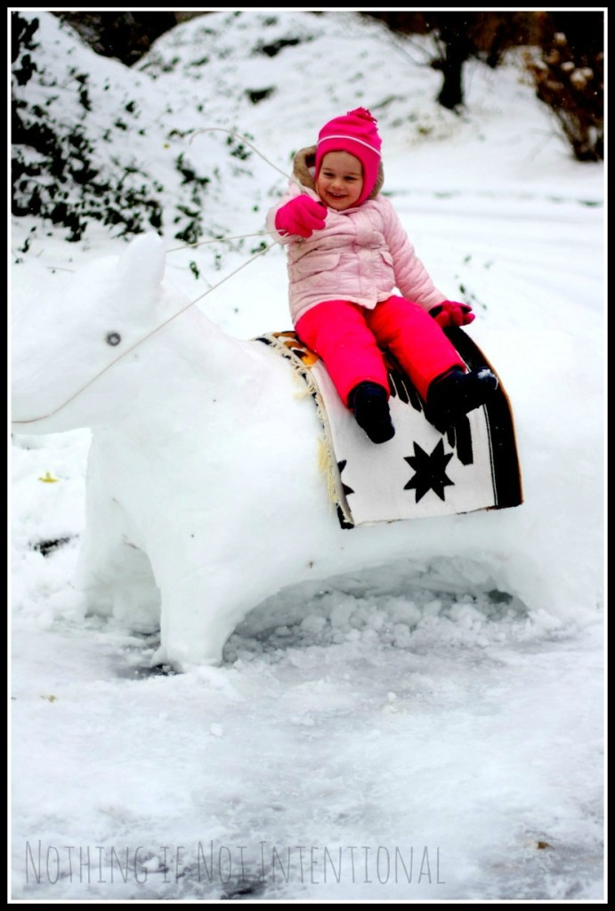 So long, snowman! Make a snow horse instead!