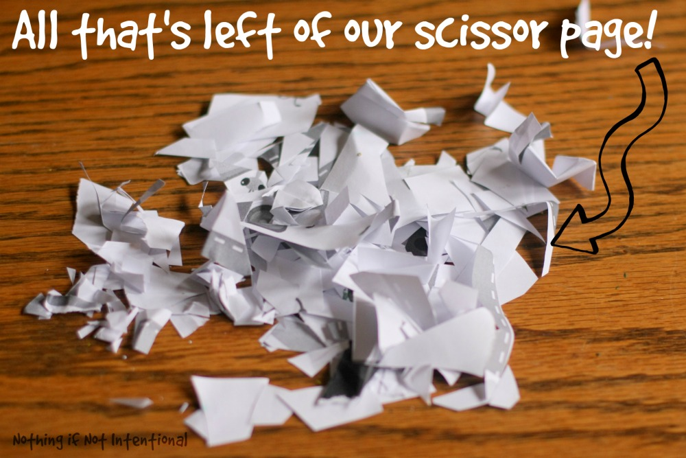 Scissor cutting practice for preschoolers--with free printables