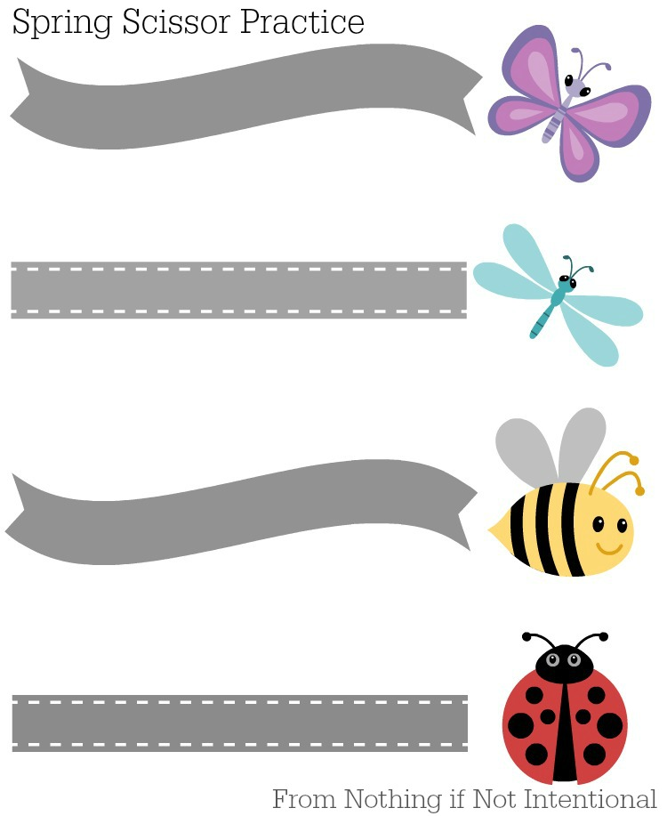 graphic regarding Free Printable Cutting Activities for Preschoolers identify No cost PrintablesSpring-Themed Scissor Educate Very little if