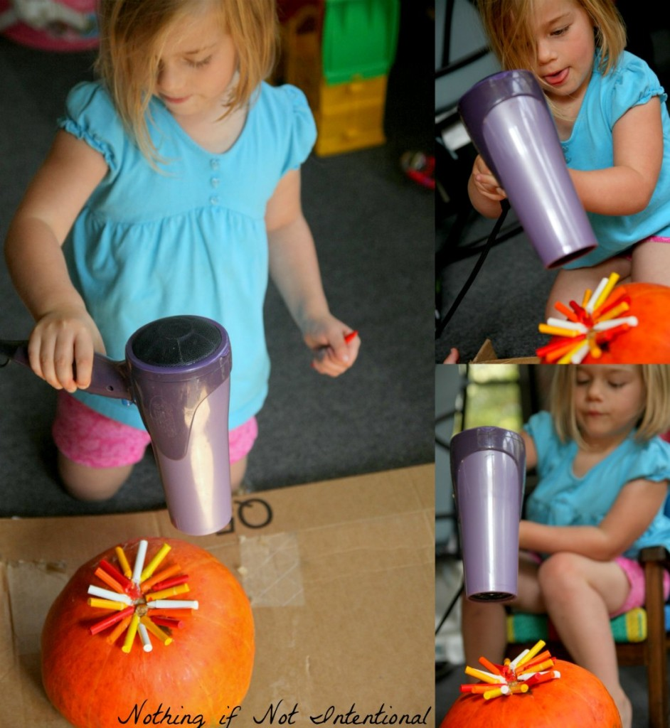 Melted Crayon Pumpkins.. Easy, no-carve idea for decorating pumpkins with kids!