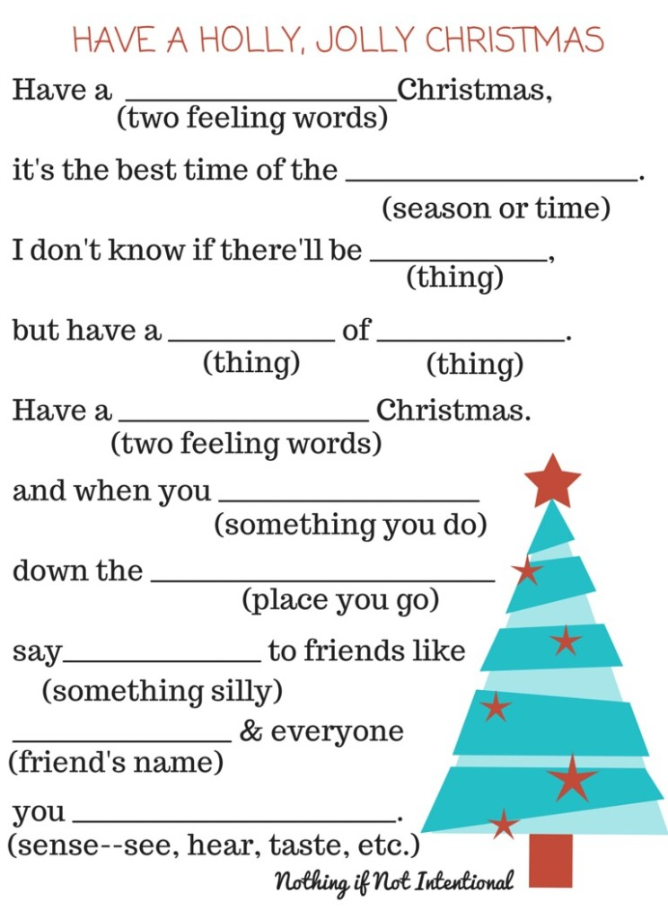 graphic about Christmas Mad Libs Printable identified as No cost Xmas Printables: Recreation Placemat Fill-inside of-the