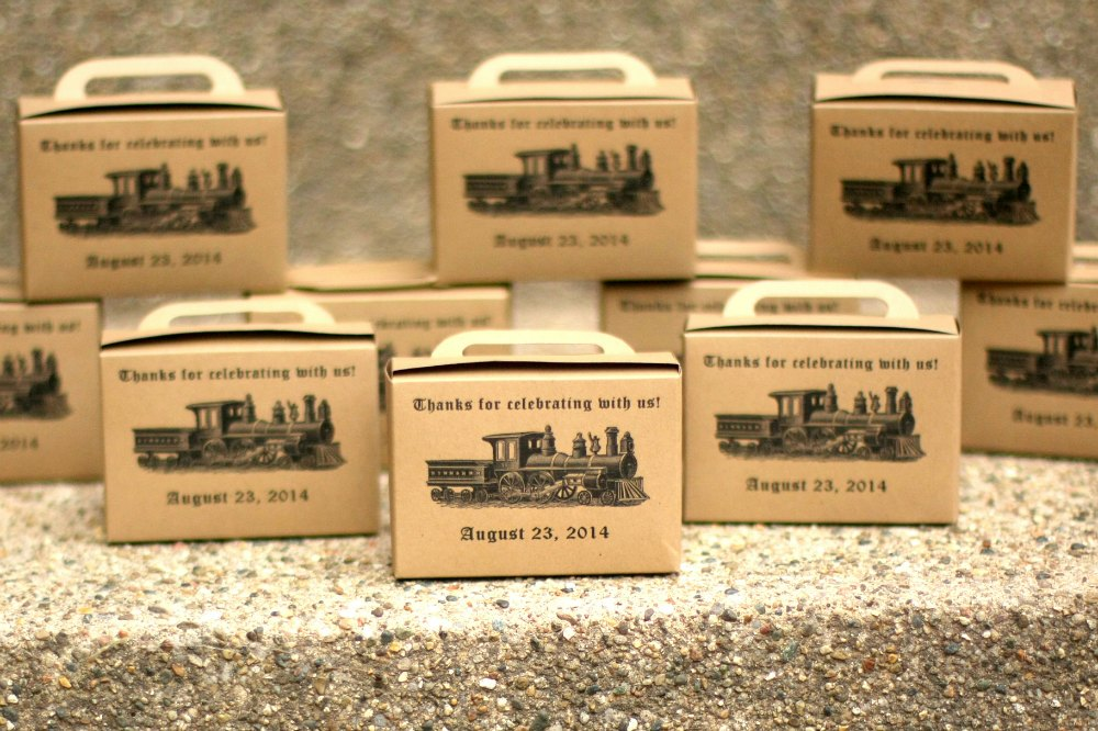 Favor boxes for train party
