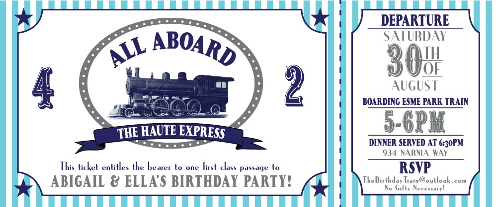 ALL ABOARD Train Birthday Party Ideas for Boys or Girls Nothing