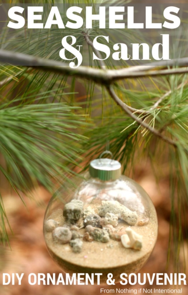 Turn your seashells and sand into an easy, DIY Christmas ornament and inexpensive souvenir.