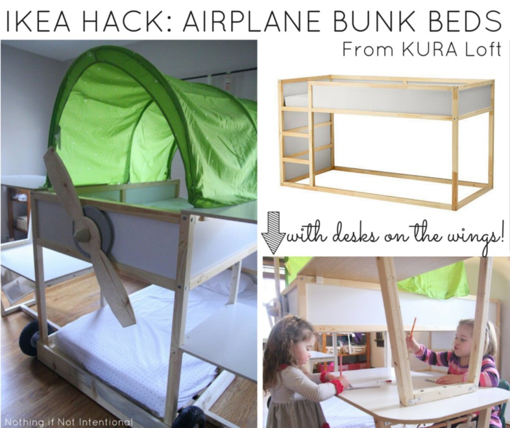 IKEA HACK Airplane Bunk Beds & Ikea bed hack -- Kura loft turned into an airplane bunk bed!