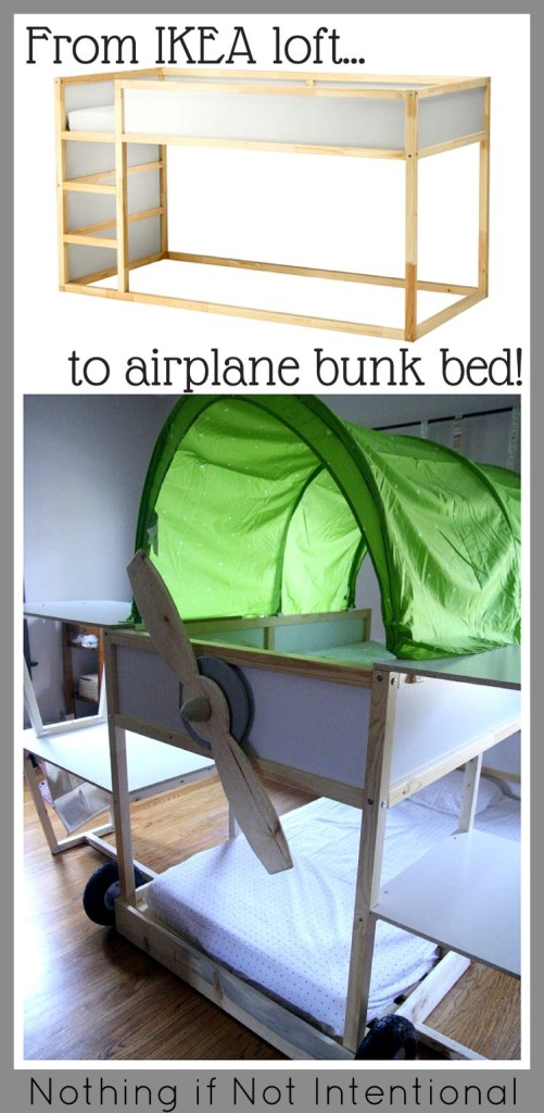 Ikea hack: airplane bunk bed from KURA loft